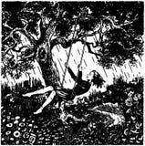 Femme sur l'oscillation d'arbre illustration libre de droits