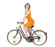 Femme sur la bicyclette Photo stock