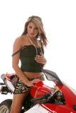 Femme sur la moto Photos stock