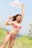 Femme sur la plage Photos stock