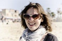 Femme sur la plage Photographie stock libre de droits
