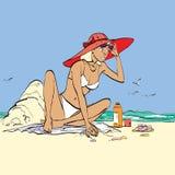 Femme sur la plage Photo stock