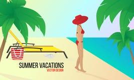 Femme sur la plage Vacances d'été Vacances dans les pays tropicaux Illustration de vecteur illustration de vecteur