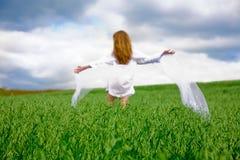 Femme sur la zone d'avoine Image libre de droits