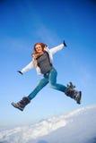 Femme sur le champ de neige Photos libres de droits