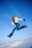 Femme sur le champ de neige Image stock