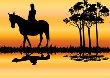 Femme sur le cheval Photographie stock libre de droits