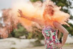Femme sur le feu Photo stock