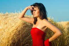 Femme sur le landckape près de la meule de foin image stock