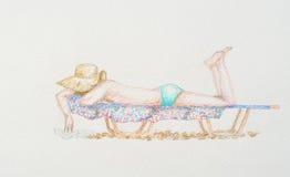 Femme sur le lit pliant Images libres de droits