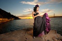 Femme sur le ponton Photo libre de droits