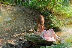 Femme sur un courant de forêt photo libre de droits