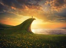 Femme sur une falaise images stock