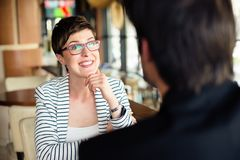 Femme sur une réunion d'affaires Images stock