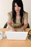 Femme tapant sur un ordinateur portatif photos stock
