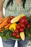 Femme tenant différents légumes frais Image stock