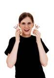 Femme tenant l'ampoule Images stock