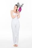Femme tenant l'oeuf de pâques Photographie stock