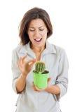 Femme tenant l'usine de cactus et poignardée son doigt avec f douloureux Photo stock