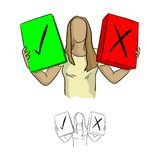 Femme tenant la case à cocher verte et l'illus de vecteur de la Croix-Rouge une Illustration Libre de Droits