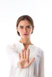 Femme tenant la main devant elle images stock