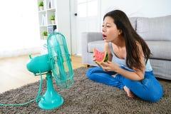 Femme tenant la pastèque et le visage sur le ventilateur électrique Photo stock