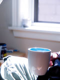 Femme tenant la tasse de café par la fenêtre photographie stock libre de droits