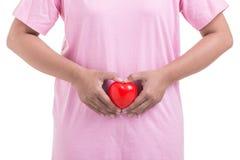 Femme tenant le coeur rouge devant son estomac d'isolement sur le petit morceau images stock