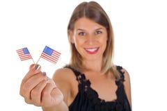 Femme tenant le drapeau des Etats-Unis Photos stock