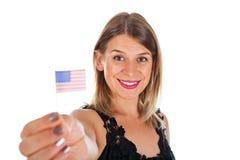 Femme tenant le drapeau des Etats-Unis Photo libre de droits