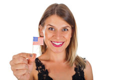 Femme tenant le drapeau des Etats-Unis Images libres de droits