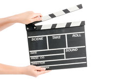Femme tenant le panneau de clapet de production de film Photographie stock