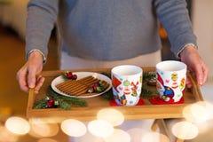 Femme tenant le plateau des biscuits de Noël photos libres de droits