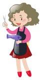 Femme tenant les ciseaux et le blowdryer Photo stock