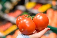 Femme tenant trois tomates au marché Images stock