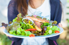 Femme tenant un plat de la salade saumonée photo libre de droits