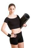 Femme tenant un tapis Photo libre de droits