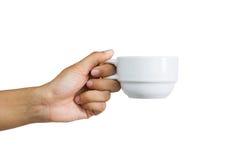 Femme tenant une tasse de café, d'isolement sur le blanc Image stock