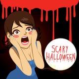 Femme terrifiée de Halloween illustration libre de droits