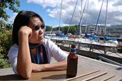 Femme thaï dans la marina photo libre de droits