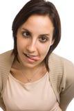 Femme tirant le visage drôle Image stock