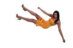 Femme tombant par le ciel Image stock