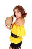 Femme étonné avec le chapeau Image libre de droits