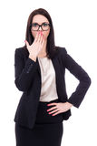 Femme étonnée ou effrayée d'affaires d'isolement sur le blanc Photo libre de droits