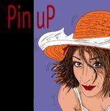 Femme, très érotique avec la goupille vers le haut de l'écriture illustration stock