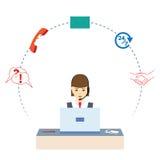 Femme travaillant à un centre d'attention téléphonique Service de support Image stock