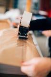 Femme travaillant dans l'usine d'impression photo libre de droits