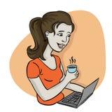 Femme travaillant de la maison Images libres de droits