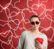Femme triste avec le coeur Image libre de droits