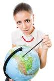 Femme triste avec le globe Photos stock